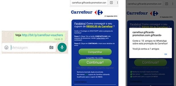 Falsa promoção do Carrefour no WhatsApp infecta mais de 8 mil