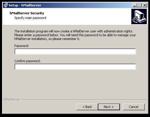 Tela de instalação do HmailServer, inserir a senha de administrador