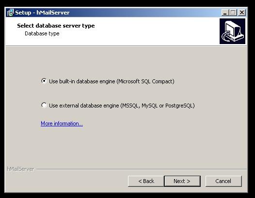 Tela de instalação do HmailServer