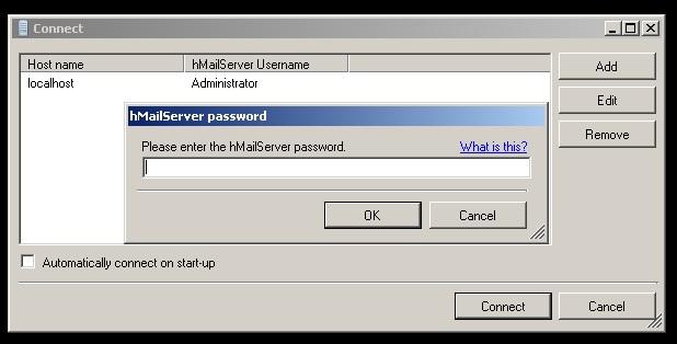 Tela de login HmailServer