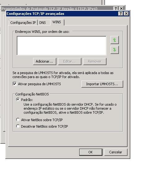 Configurações NetBIOS