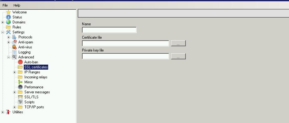 Adicionando certificado SSL no Hmailserver