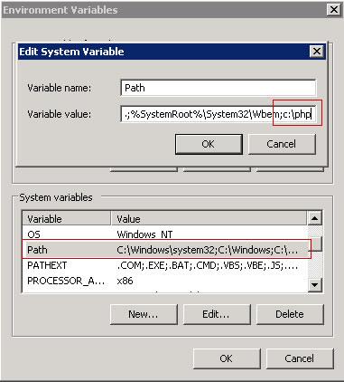 Editando a variável de ambiente do Windows Server