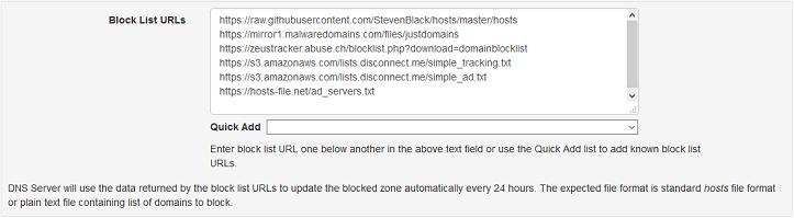 Configuração de privacidade e segurança Technitium DNS server