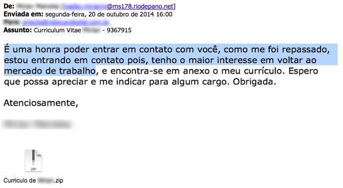 Exemplo de e-mail com vírus